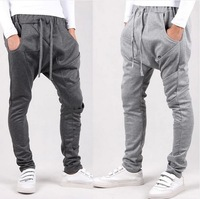 2014 New men pant sport joggers slim fit harem pants hip hop bandana pants outdoors jogging, sweatpants drop crotch pants men