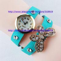 Fashion Golden Leather Vintage Watches bracelet Retro Dress Butterfly Wing Diamond stone crystal Wings Quartz women ladies Watch