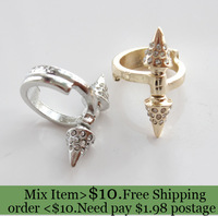 ZH0793 New fashion Jewelry rhinestone punk rivet finger rings nice gift for women girl ladie's