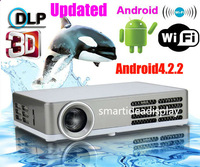 2014 New come!! Integrated Android4.2.2 wifi Full HD 2D to 3D mini DLP projector, pocket 3D dlp RGB led projectors
