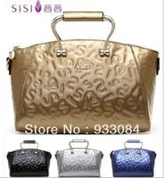 genuine leather Metal handle Italy designer handbags SISI Brand !women vintage luxury Letters pattern totes!gold blue black gray