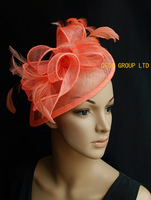 CORAL Sinamay Fascinator/hat with feathers for wedding.FREE SHIPPING.