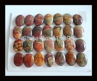 28 PCS Of Multi-colors Picasso Jasper Cabochons,16x12x3/16x12x5mm,39.52g