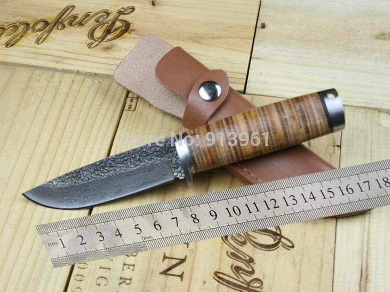 Free Shipping, Damascus Knife Handmade Forged Steel Sharp Fixed Hunting Knife Outdoor Camping knife A39(China (Mainland))