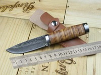 Free Shipping, Damascus Knife Handmade Forged Steel Sharp Fixed Hunting Knife Outdoor Camping knife A39