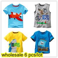 Wholesale 1 lot = 6 pieces Brand 2015 New Children's T-shirt boys' Tees Baby Boy  Litle boy Summer tshirt Designer Cotton tshirt