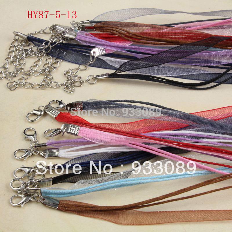 Free Shipping 25pcs 18'' Mixed Silk Organza Ribbon Necklace Strap Cord Chain 87-5(China (Mainland))