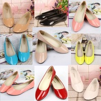 hot-selling quality Flat shoes for women candy color flat heel japanned leather casual shoes shallow mouth pointed toe flat