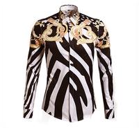 New Man Spring High Quality Fashion Designer Brands Shirts 2014 Mens Europe and America Striped Slim Long Sleeve Print Shirts