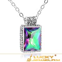 New Fashion Rainbow Fire Mystical Topaz Charm Filigree Authentic 925 Silver Pendant P0885 Free Chian