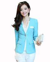 Free Shipping 2014 spring female blazer outerwear fashion office lady slim long-sleeve short blazer