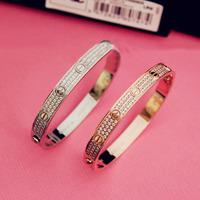 Cubic Zirconia Titanium Trendy Couples Babysbreath Brand New Bangles Indian Jewelry Crossfit Fashion Drill Bracelet Gift