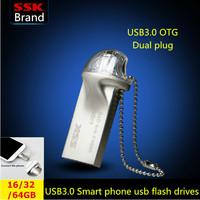 SSK USB 3.0 Smart phone usb flash drive pen drive 100% 16G 32G 64G USB 3.0 high speed double plug OTG mobile phone Free shipping