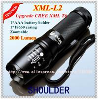 2014 Christmas UltraFire E17 CREE XM-L T6 L2 2000Lumens cree led Torch Zoomable Waterproof cree flashlight torch light Free ship