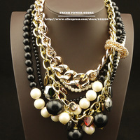 2014 Fashion Jewelry Artificial Pearl Necklaces Black Beads Multilayer Gold Chain Statement Choker Collar Necklaces Women Bijoux
