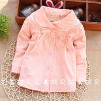 2014 spring wholesale brand baby t shirt dots 100% cotton girl shirts lace children clothes kids blouse factory PANYA CTT172