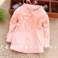 2015 spring wholesale brand baby t shirt dots 100% cotton girl shirts lace children clothes kids blouse factory PANYA CTT172