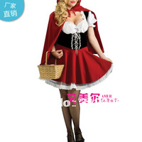 Free Shipping S,M,L XL XXL WF8227 Halloween Costume Fashion Sexy Women Red Hat Costume Cosplay 2014 New