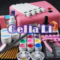 36w pink uv lamp 12 colors UV Gel solid uv gel nail tools kit 230