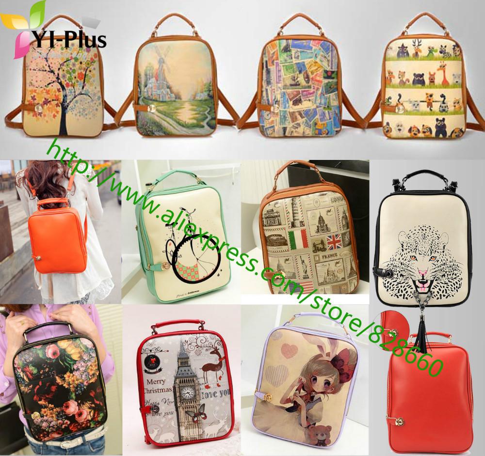 2014 fashiom print backpack women backpack small female PU backpack school bag preppy style(China (Mainland))