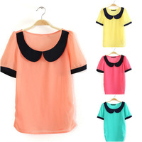 4 Colors 3 Sizes  2014 New summer Chiffon Blouse Short Sleeve Fashion Peter pan Collar  Shirt    STK32