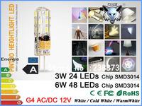 ZK12 Dimmable G4 base AC DC 12V SMD3014 3W/6W 24/48 chips LED G4 light lamp bulb  360 degree beam LED bulb 2pcs/lot
