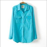 Fashion Women Candy Color Corduroy Blouse Embroidery Logo Long-Sleeve Blouse Shirt Blusas Femininas