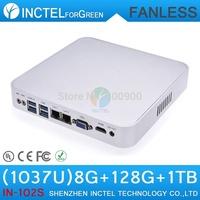 8G RAM 120G SSD 1TB HDD fanless aluminum 1037u cpu intel mini windows pc hdmi 1080p 2 rj45