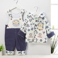 2014 new winter baby bib pants wadded jacket twinset, newborn infant cotton thermal cotton-padded jacket trousers,