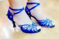 Blue Satin Rhinestone Ballroom Latin Samba Salsa Ceroc Tango Jive Line Dance Shoes heels Size 34,35,36,37,38,39,40,41