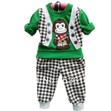 new 2014 Hot conjuntos newborn cartoon monkey clothing set roupas infantil cotton baby boy shirt+pants kids bebe clothes sets(China (Mainland))