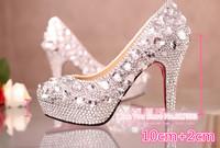 1400 Romantic! Genuine Leather Rhinestone Women's high heels dance Shoes 9/10/12/14cm high Size36-39