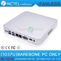 2015 NEW Intel Celeron C1037U aluminum fanless dual core living room HTPC Barebone Mini PC with USB 3.0 HDMI 2 RJ45 TF SD Card