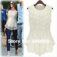 2014 Spring Summer  Fashion Women Lined Lace European American Sexy Sleeveless tops dress