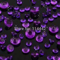 Free Shipping ! 1000 pcs / lot  Purple Color 4.5mm 1/3 Carat Acrylic Crystal Dimond Confetti Wedding Party Decoration