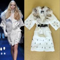 Autumn Winter Europe and USA Catwalk 2014 New Arrival Women's Big Fox Fur Collar Beading Fur Coat Overcoat Ladies Outerwear