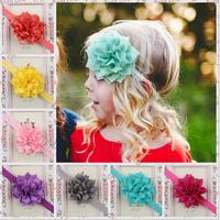 12 pieces/lot 8cm flower with headband baby hairband girls hair accessories headwear bebe hair band