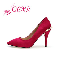 2014 New Spring Autumn Black Red Blue Point Toe Platform Fashion Sexy High Heels Rivets Metal Women Pumps Pearl  Wedding Shoes