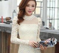 2014 new dot beading gauze pearl lace long-sleeve basic shirt slim elegant t-shirt female long-sleeved shirt