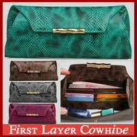 2014 New 100% Genuine Leather Snake Women's Wallet Retro Classical Long Designer Money Clip Card Holders Purse Evening Bag Party