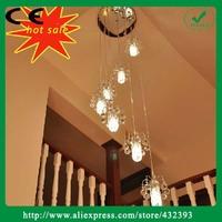 Super Shiny Large Chandelier K9 Lustre Crystal Light Ceiling Living Hybrid-type Stairs Spiral Crystal Lighting Lamp