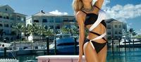 2015 Women's Bandage Bikini Set Push Up Sexy Biquini Black White Color Swimwear Woman Halter Bathing Suit Swimsuit 1377