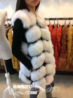 2014 new winter hight quality  luxury full leather 100% real antural fox fur vest medium-long women's vest  Y9P1