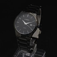 2014 valentine's day men watches Stainless steel thin CASE concise Date Men Quartz Wristwatch stainless steel Band Freeshipping