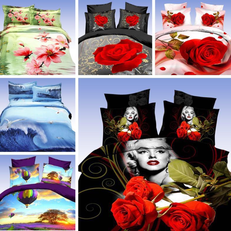 Marilyn monroe bedding sets 3d bedclothes black duvet cover sets king/queen size bed linen bed sheet sets bed set #28-01(China (Mainland))
