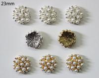 Free Shipping Wholesale 23mm Flatback Rhinestone Button For Hair Flower Wedding Invitation 60pcs/lot BHP04023
