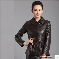 Brief turn-down collar women's quinquagenarian spring and autumn women's long-sleeve sheepskin genuine leather clothing