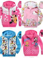 HH Children Hooded Sweater sweatshirt zipper sweatshirt outerwear cardigan Winter warmth  Thick section fleece MINNIE