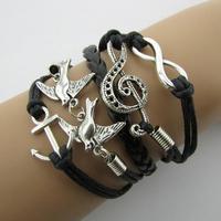 B071 Anchor peace dove note 8 characters wax line fashion bracelet 10163 B5