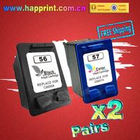 C6656A C6657A Refillable Inkjet Ink Cartridge for hp 56 57 HP Printer Deskjet F4140 F4180 5150 5550 450cbi 450wbt...(2Pairs=4PK)